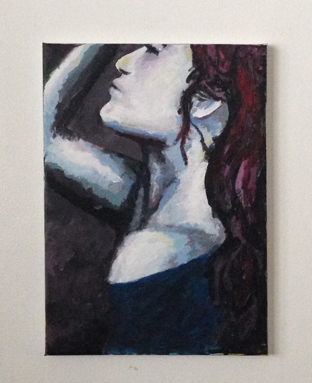 """she who played with fire. 10""""x14"""" acrylic on canvas"""